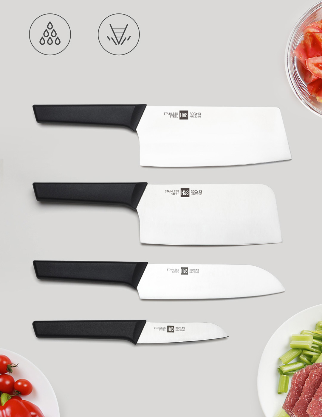 Xiaomi HuoHou Youth Edition 6-in-1 Stainless Steel Knife Set