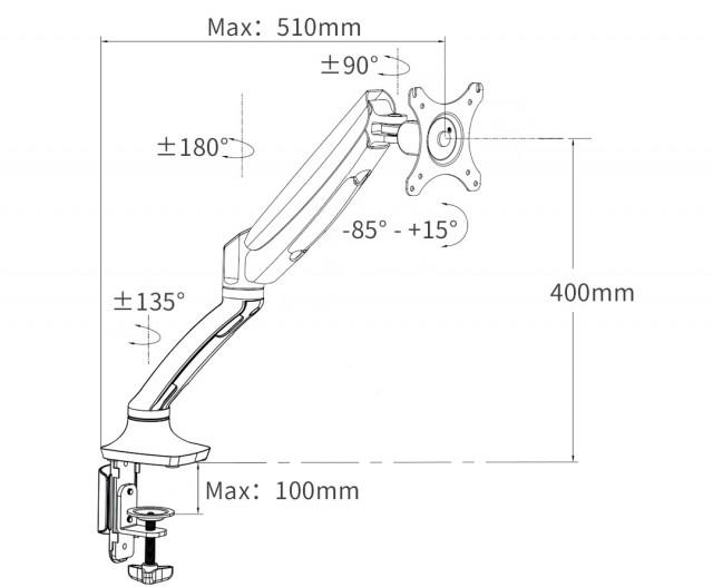 Squirrey Multi-Function Gas Spring Monitor Mount Arm MMA502