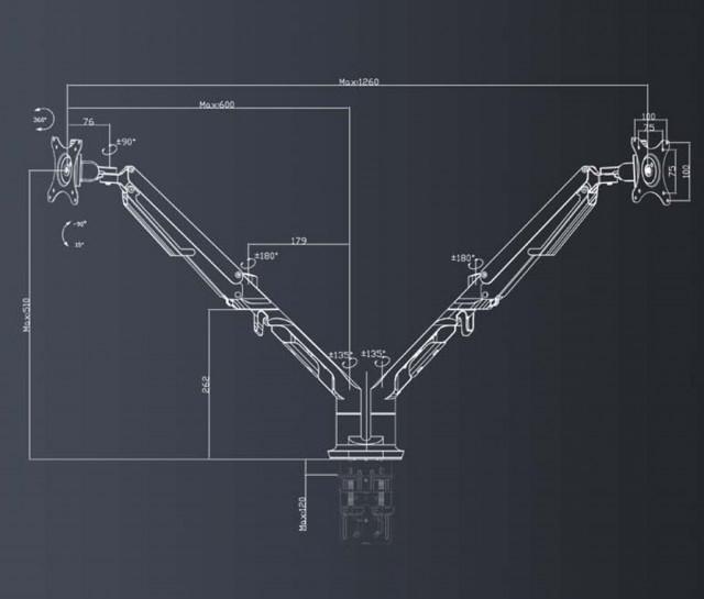 Loctek Aluminium Dual Monitor Mount Arm A8D