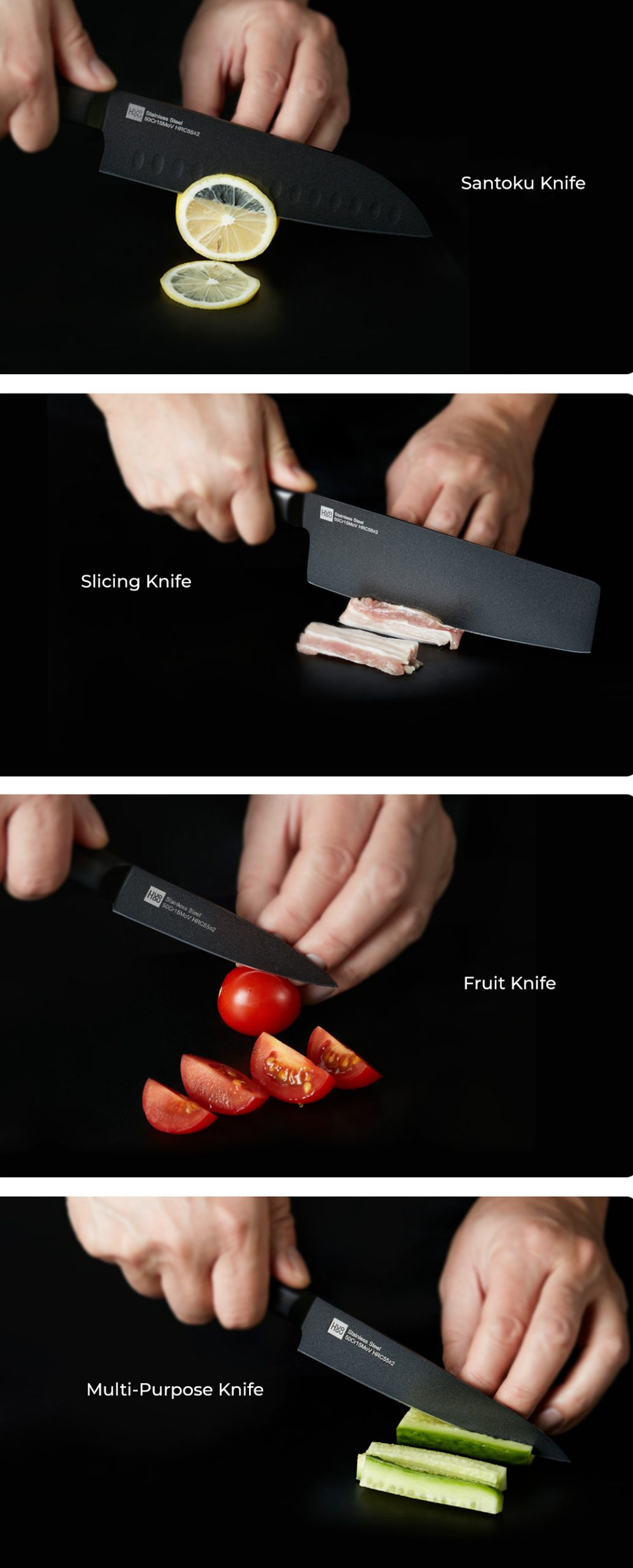 Huohou Non-Stick Stainless Steel Kitchen Knife Combo
