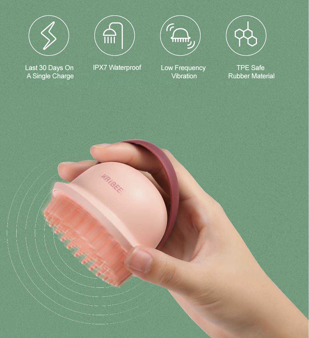 Xiaomi Kribee Electric Hair Care Scalp Massager Comb
