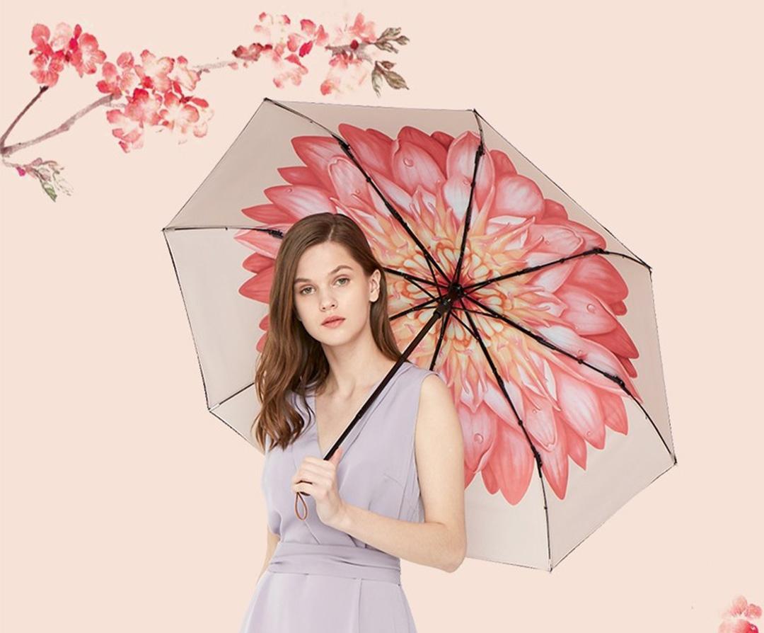 Beneunder Black Flower Series 3-Fold Umbrella